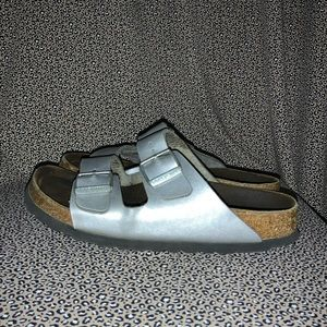 Birkenstock Leather Silver Cork Sandal Size 36
